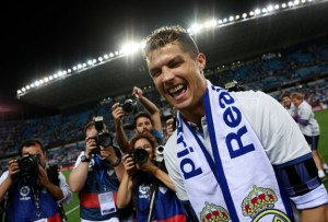 Cristiano Ronaldo celebrates last season's title win